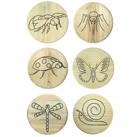Engraved Outdoor Wooden Button Stool  large