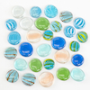 Transparent Coloured Glass Pebble Counters 30pcs  small