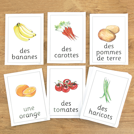 Fruit and Vegetables French Flashcards A4 22pk  large