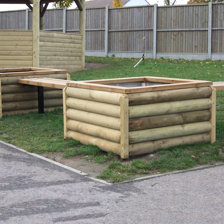 Log Planter and Wooden Bench Set  large