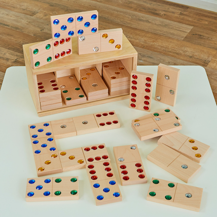 Wooden Jewel Domino Set 28pk  large