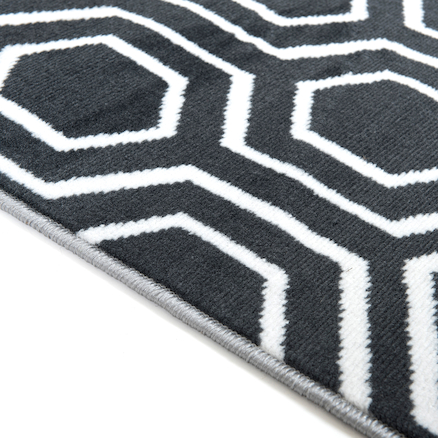Hexagonal Patterned Grey and Cream Rug  large