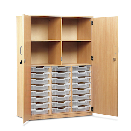 Cupboard with 24 Shallow Trays  large