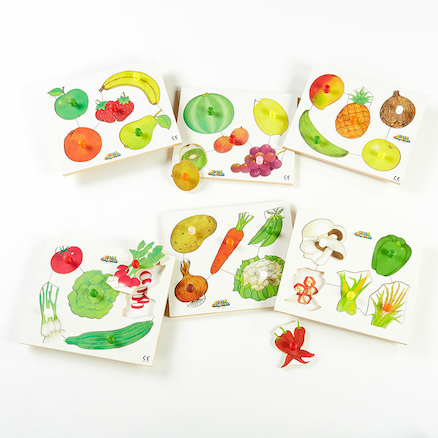Wooden Healthy Eating Puzzles 6pk  large