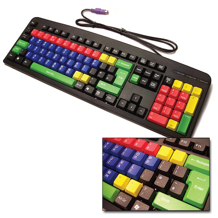 Multicoloured Lowercase Computer Keyboard  large