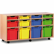 Mobile Tray Storage Unit With 12 Mixed Size Trays  medium