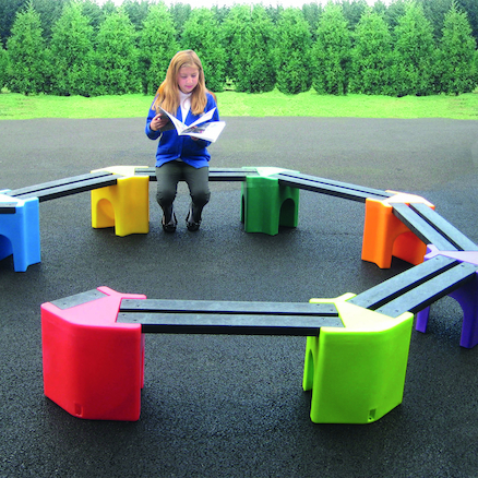 Recyclable Plastic Curved Seating Unit  large
