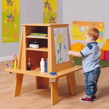 Three Sided Easel with Storage  medium