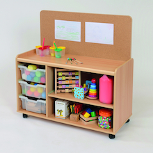 Tray Storage Unit With Cork Display Board  medium
