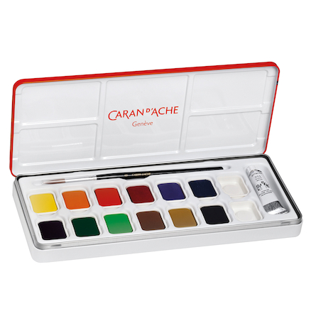 Caran Dache Box of 12 Gouache Pan Set  large