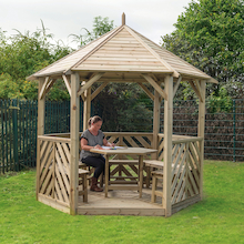 Six Sided Wooden Gazeebo with Table and 5 Benches  medium