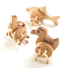 Wooden Wheeled Animal Push Along Toys 3pk  medium