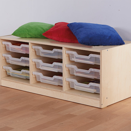Essentials Indoor Wooden Low Tray Storage Unit  large