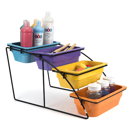 Colourful Plastic Tray Collection with Stand \-  large