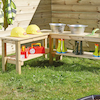 Outdoor Wooden L Shaped Table  small
