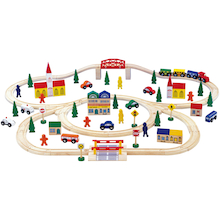 Large Small World Wooden Train Set 125pcs  medium