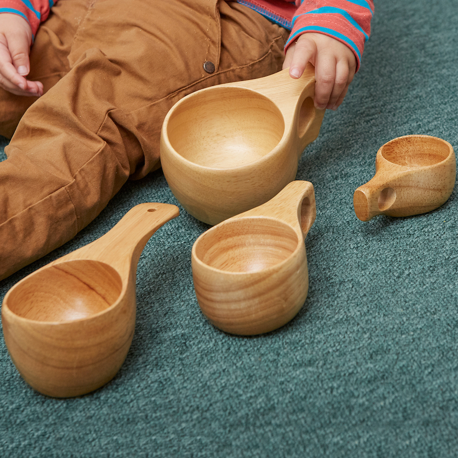 Assorted Sizes Wooden Cup Collection 4pcs