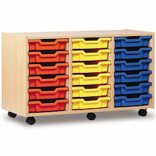 Mobile Tray Storage Unit With 18 Shallow Trays  medium