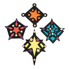 Stained Glass Window Star Decorations 30pk  medium