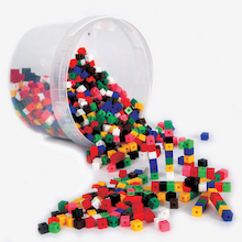 Plastic Interlocking Colour Cubes  medium