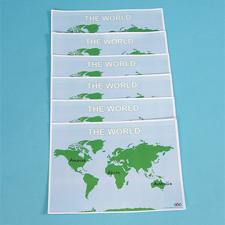 World Laminated Desk Mats A3 6pk  large