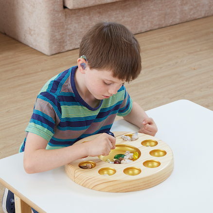 Sensory Wooden and Metallic Sorting Bowl  large