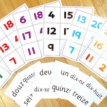 Numbers French Vocabulary Bingo Game  medium