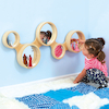 Wooden Framed Mirror With Circles Design 93 x 42cm  small