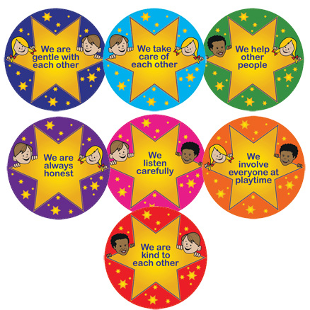 Gold Star Rules Playground Signs 7pk  large