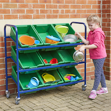 Metal Tilted Tray Trolley with Trays  medium