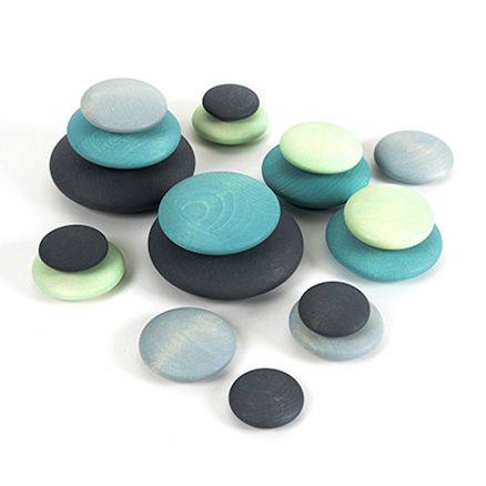 Wooden Stacking Pastel Pebbles 18pk  large