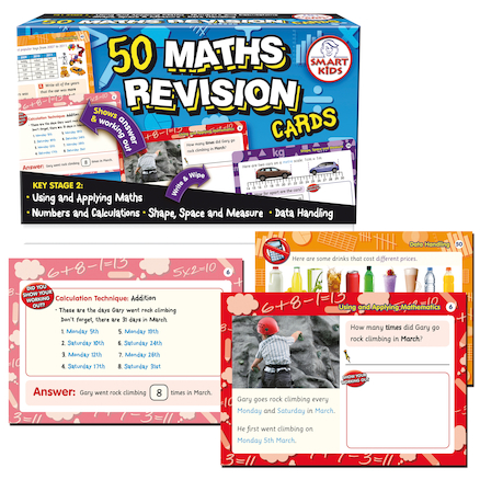 Dry Wipe KS2 Maths Revision Cards 50pcs  large