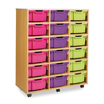 Mobile Tray Storage Unit With 18 Deep Trays  large