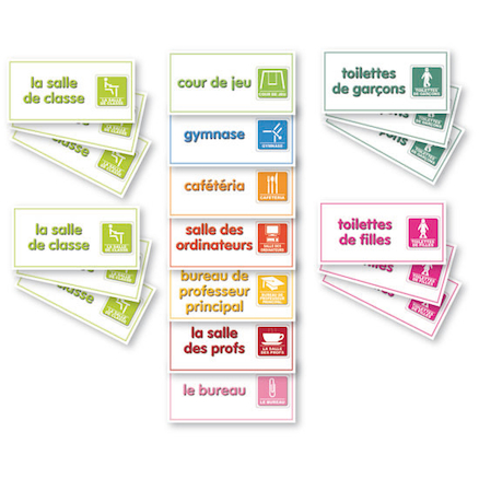 Signs for Around School In Spanish and French  large