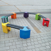 Recyclable Plastic Curved Seating Unit  small