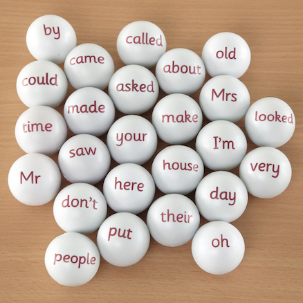 High Frequency Word Ping Pong Balls  large