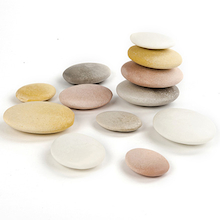 Smooth Natural Sorting Stones 12pk  medium