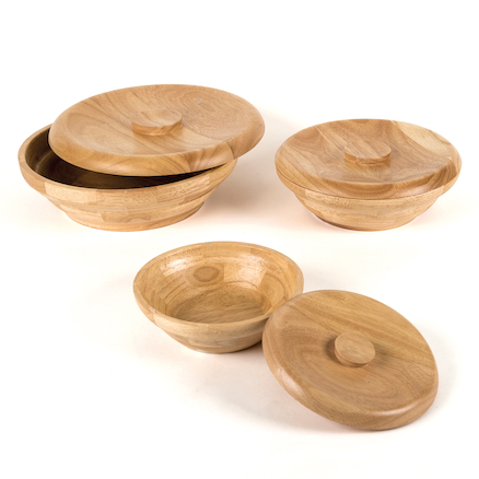 Natural Wooden Bowls with Lids 3pcs  large