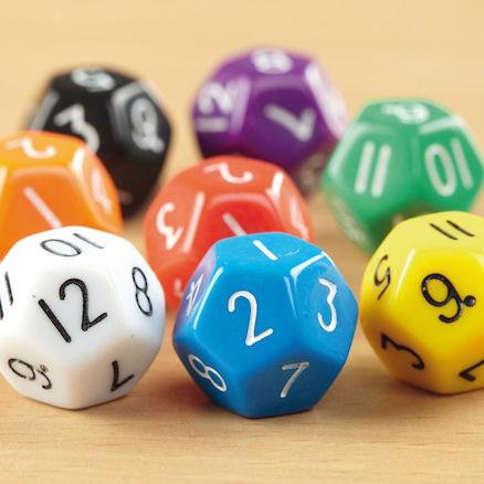 Coloured Plastic 12 Sided Dice 50pk  large