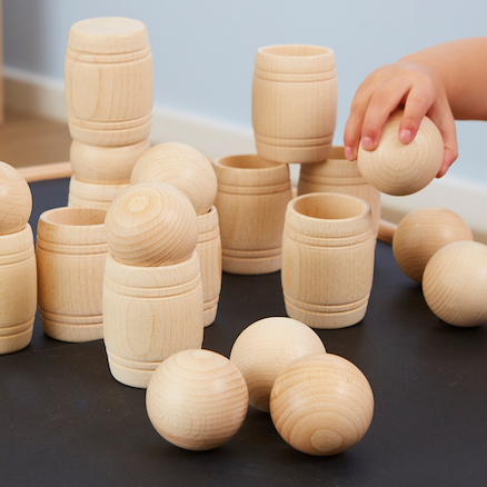Wooden Barrels and Balls Set 20pcs  large