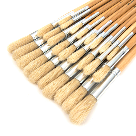 Long Round Hog Hair Paint Brushes Assorted 30pk  large