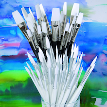 Assorted White Nylon Paint Brushes 90pk  medium