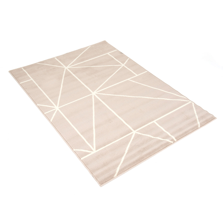 Swirl Patterned Beige and Cream Rug  large