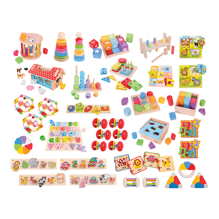 Bulk Pack of Wooden Manipulative Nursery Toys  large