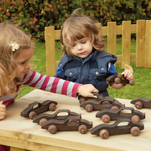 Outdoor Wooden Racing Cars 10pk  medium