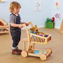 Natural Wooden Role Play Shopping Cart  medium