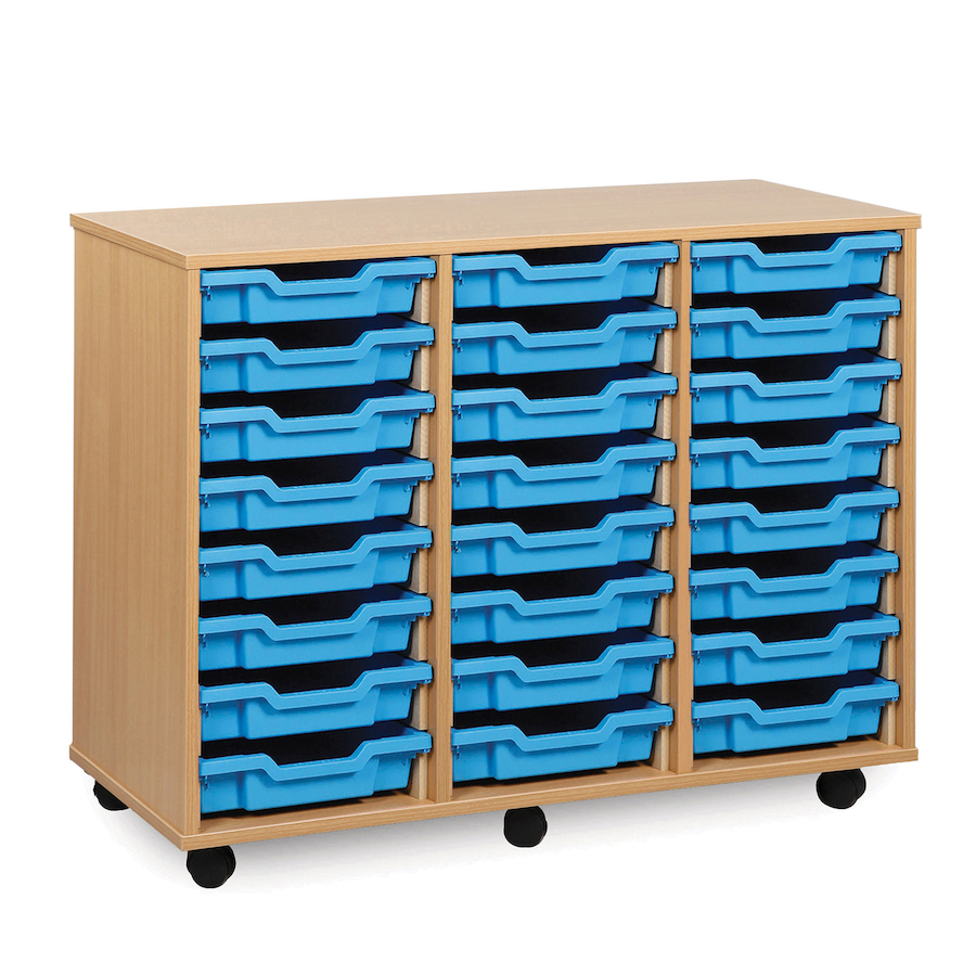 buy mobile tray storage unit with 24 shallow trays tts. Black Bedroom Furniture Sets. Home Design Ideas