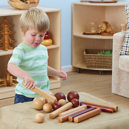 Wooden Cylinders and Balls for Babies 21pk  large