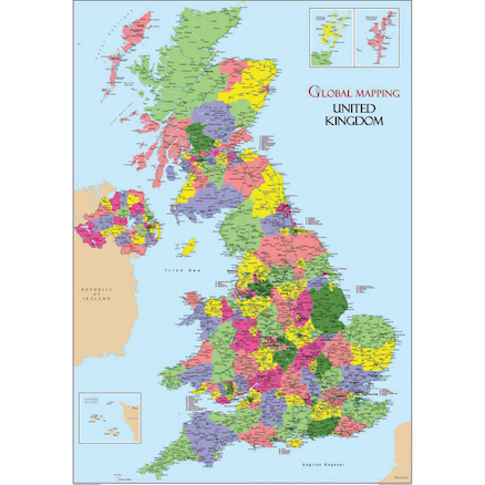 United Kingdom Map Vinyl A1  large