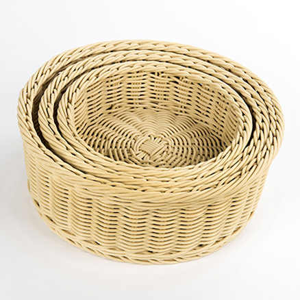 Outdoor Plastic Willow Woven Nesting Trays 3pk  large